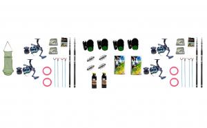 Set 4x  lansete telescopice 3.0m cu mulinete si accesorii pescuit sportiv S4