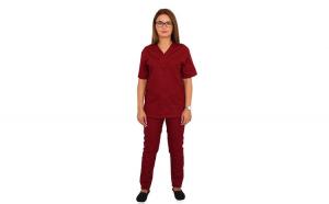 Costum medical visiniu, cu bluza cu anchior in forma V, trei buzunare aplicate si pantaloni visiniu cu elastic