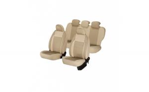 Huse scaune auto BMW SERIA 1 E81  2003-2012   dAL Elegance Bej,Piele ecologica + Textil