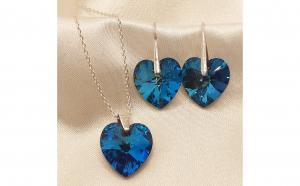 Set argint swarovski elements heart