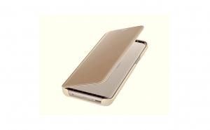 Husa compatibila Huawei P20 Book Clear View Standing Cover (Oglinda) Gold Auriu