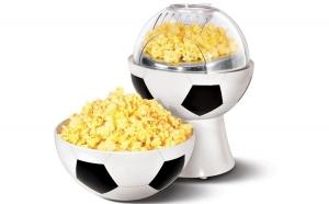 Aparat in forma de minge de fotbal, cu capac detasabil, pentru preparare popcorn fara ulei, la doar 179 RON de la 359 RON. Garantie 12 luni!