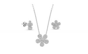 Set argint 925 rodiat cu floricele si