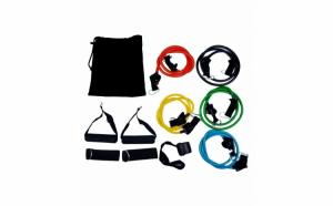 Sistem de antrenament fitness cu corzi extensibile, Home gym extreme, prinderi multiple, 11 piese