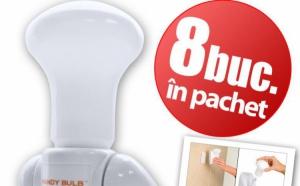 Super becurile Handy Bulb (8 buc) le poti muta oriunde vrei, fara fir, nu necesita alimetare la priza, la 49 RON in loc de 169 RON