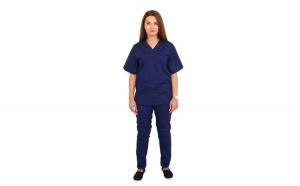 Costum medical bleumarin cu bluza cu anchior in forma V, trei buzunare aplicate si pantaloni bleumarin cu elastic.