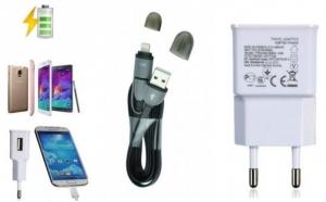 Pachet incarcare telefon: Adaptor priza 2Ah USB AC + Incarcator si Cablu de Date 2in1 USB la Micro USB si Lightning, la doar 19 RON in loc de 44 RON
