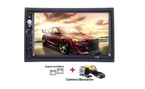 2Din, dvd mp3/mp5 player auto 7010b, MirrorLink, rama, camera