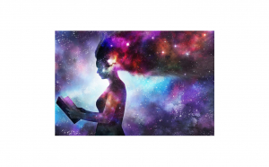 Tablou Canvas Galaxy 95 x 125 cm rama de lemn ascunsa margini printate