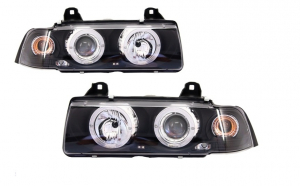 Set 2 faruri Angel Eyes compatibil cu BMW Seria 3 E36 2D Coupe/Cabrio (1992-1997) Black Edition