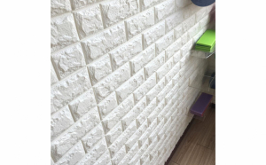 Tapet 3D caramizi alb cu crem