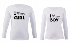 Set de bluze albe I love girl/boy COD SB201
