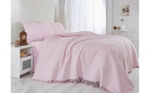 Patura, roz , texturata si cu franjuri realizati manual, 220X240, saheser
