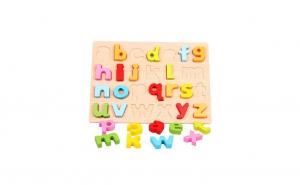 Puzzle 3D lemn, Alfabetul cu litere mici
