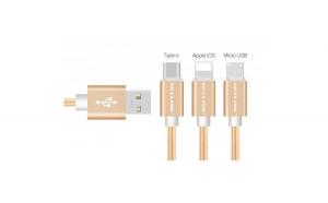 Cablu de date 3 in 1 USB Tip-C-MicroUSB-iPhone incarcare rapida