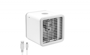 Ventilator Portabil cu Lumina Ambientala, Racire cu Umidificare, Alimentare USB, 230V