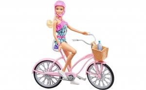 Papusa Barbie cu bicicleta roz si accesorii