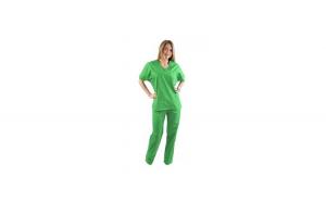 Costum medical vernil, cu bluza cu anchior in forma V, trei buzunare aplicate si pantaloni vernil cu elastic