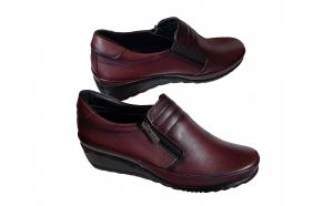 Pantofi dama negri si visinii din piele