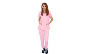 Costum medical roz cu bluza in forma Y cambrata, doua buzunare aplicate si pantaloni roz cu elastic