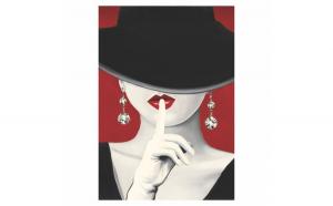 Tablou Canvas Haute Chapeau Rouge I, 70 x 100 cm, 100% Bumbac