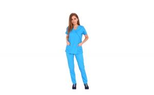 Costum medical turquoise, cu bluza in forma Y cambrata, doua buzunare aplicate si pantaloni turquoise cu elastic