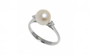Inel din aur alb 18K cu perla si diamante naturale, circumferinta 49 mm