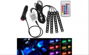 Lumini LED RGB auto, de interior, multicolor, cu telecomanda