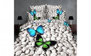 Lenjerie de pat dublu 3D - Fluturi si pietre