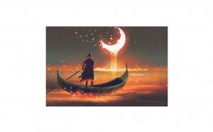 Tablou Canvas Liquid Night 50 x 75 cm rama de lemn ascunsa margini printate