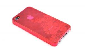 Husa iPhone 4/4S rosie cu model floral PVC, Vrone