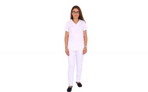 Costum medical alb cu bluza in forma Y cambrata, trei buzunare aplicate si pantaloni albi cu elastic.