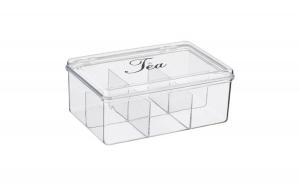 Cutie pentru depozitarea plicurilor de ceai, 6 compartimente, 21x14,5x8,5 cm
