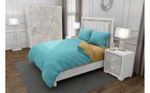 Lenjerie de pat matrimonial cu husa elastic pat si fata perna dreptunghiulara, Duo Turquoise, bumbac satinat, gramaj tesatura 120 g mp, Turcoaz Bej, 4 piese