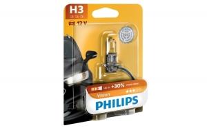 Bec auto cu halogen pentru proiector Philips H3 Vision, +30%, 12V, 55W, 1 Buc