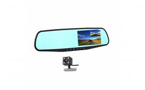 Camera video auto dubla, tip oglinda