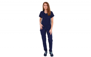 Costum medical bleumarin cu bluza cu fermoar cambrata,trei buzunare aplicate si pantaloni bleumarin cu elastic.