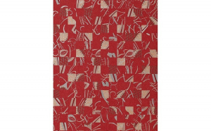 Tapet rosu model abstract cu supratata in relief 745-25