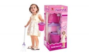 Set de curatenie complet pentru copii S-Play, 5 accesorii, Roz