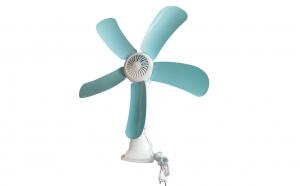 Ventilator cu picior, prindere tip cleme, cu rotire 360 grade, alb/albastru