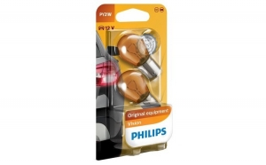 Set 2 Becuri auto auxiliare cu halogen - Philips PY21W Orange, 12V, 21W