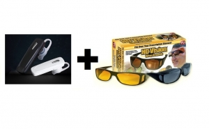 Pachet casca Bluetooth + 2 perechi ochelari de zi si de noapte