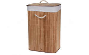 Cos de rufe din lemn de bambus cu capac, Natur, 72L, 40x30x60 cm