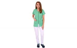 Costum medical vernil cu alb, bluza cu fermoar cambrata, trei buzunare aplicate si pantaloni albi cu elastic