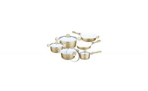 Set 6 vase: 2 tigai cu interior ceramic si 4 cratite din aluminiu cu capac din  sticla Bachmayer,10 piese