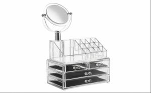 Organizator cosmetice din acril cu 4 sertare, 16 compartimente si oglinda