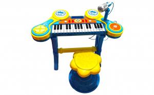 Jucarie Pian multicolor 31 clape, microfon, scaun, lumini si melodii