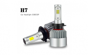 Set 2 becuri LED C6 auto H7, 6000K, 36 W, 3800 Lm, argintiu