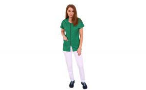 Costum medical verde cu alb, bluza verde cu fermoar, trei buzunare aplicate si pantaloni albi cu elastic