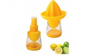 Storcator de citrice cu pulverizator si recipient